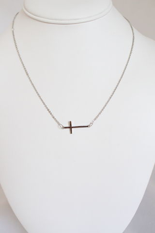 Sideways,Cross,Necklace,-,Silver