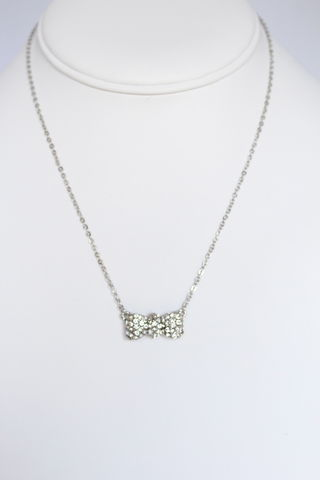 Crystal,Bow,Necklace,-,Silver,bow necklace, pave bow necklace, crystal bow necklace