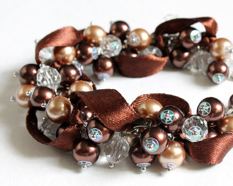 Chocolate,Brown,Cluster,Bracelet,and,Earrings,Set,dark brown cluster bracelet, chocolate brown bracelet, chocolate bracelet, dark brown bracelet, brown bridesmaid bracelet, dark brown bridesmaid bracelet, chocolate brown bridesmaid bracelet, chocolate wedding, chocolate bridesmaid