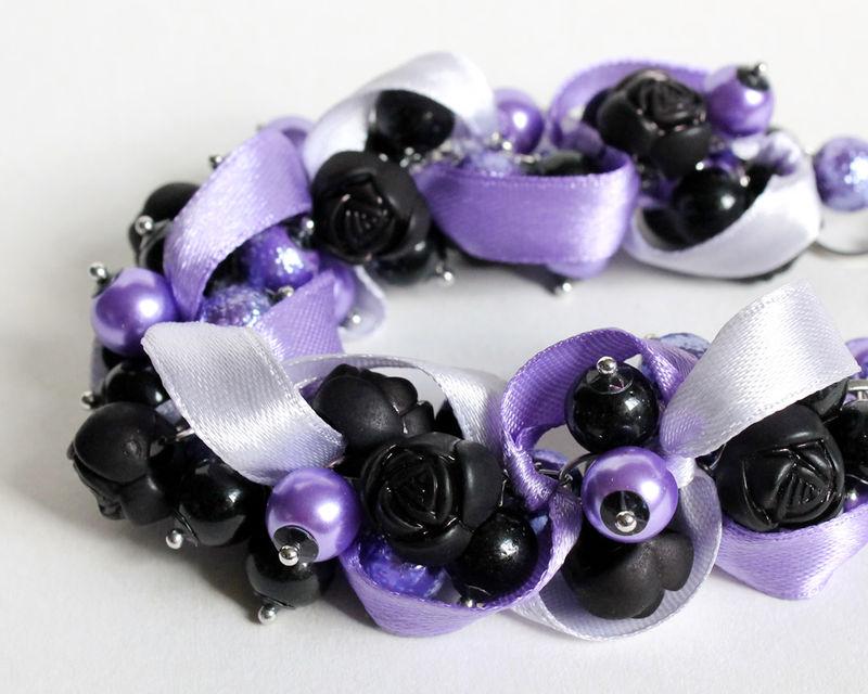 Purple and Black Bracelet /& Earring Set
