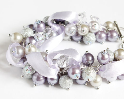Lilac,and,Light,Gray,Cluster,Bracelet,Earrings,set,bracelet earring, cluster bracelet, pearl bracelet, pearl cluster bracelet, lilac bracelet, lilac pearl bracelet, lilac cluster bracelet, lilac bridesmaid bracelet and earring set, lilac bridesmaid jewelry, light purple bridesmaid bracelet, light purple b