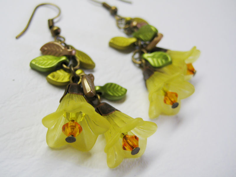 Autumn leaves and yellow flower bracelet and earring set cissy pixie mightylinksfo