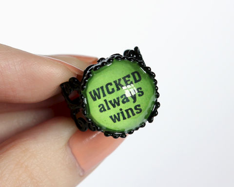 Wicked,always,wins,ring,(OUAT),once upon a time, once upon a time ring, wicked always wins, wicked ring, wicked witch ring, wicked green, OUAT zelena, OUAT ring, once upon a time zelena, ouat black ring, ouat quotes ring