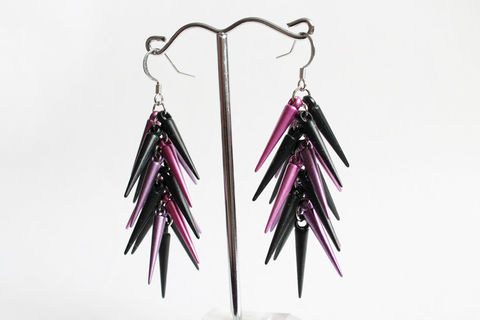 Black,and,Magenta,Small,Spikes,Earrings,silver spikes earrings, long spikes earrings, spiky earrings, black purple earrings, black purple spikes