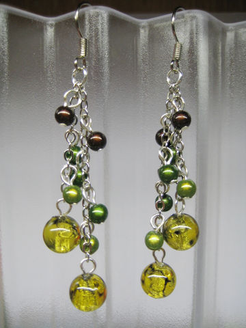 Dangling,earrings,with,amber,yellow,,green,and,brown,beads,dangle beads earrings, green yellow brown earrings, bubble earrings