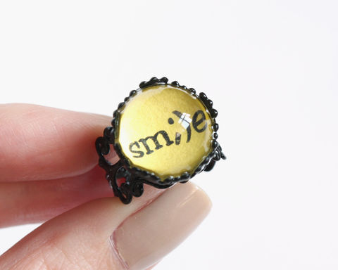 Smile,ring,smile ring, smiley ring, yellow ring, black ring, yellow black ring, black yellow ring, glass dome ring, dome shape ring, text ring