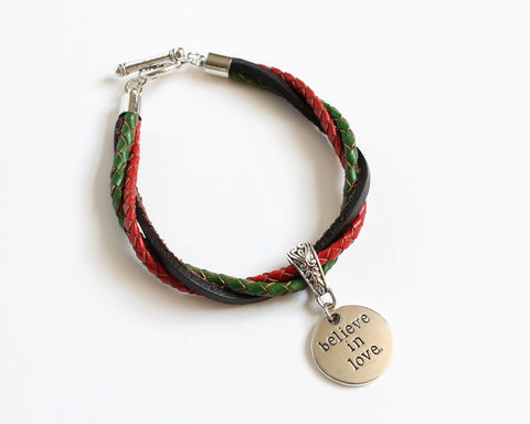 Believe,in,Love,Leather,Charm,Bracelet,leather bracelet, bolo leather bracelet, believe in love bracelet, charm leather bracelet, 3 color leather bracelet, tricolor bracelet, red green brown bracelet, green red brown bracelet, red brown green bracelet