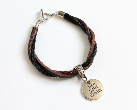 Live,Your,Dream,Leather,Charm,Bracelet,leather bracelet, bolo leather bracelet, live your dream bracelet, charm leather bracelet, 3 color leather bracelet, unisex bracelet, unisex leather bracelet, black brown leather bracelet, brown black leather bracelet