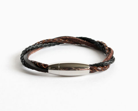 Braided,Leather,Bracelet,with,Magnetic,Clasp,(Custom,Colors),leather bracelet, bolo leather bracelet, 3 color leather bracelet, unisex bracelet, unisex leather bracelet, black brown leather bracelet, brown black leather bracelet, leather bracelet for men, jewelry for men, bracelet for men