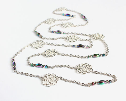 Silver,Roses,Long,Necklace,silver roses long necklace, silver rose long necklace, silver flower long necklace