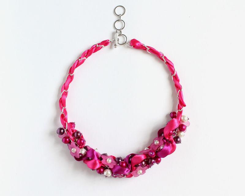 hot pink dark magenta flower bridesmaid cluster necklace