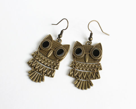 Layered,Owl,Bronze,Earrings,owl earrings, owl bronze earrings, bronze owl earrings, layered owl earrings, large owl earrings, large bronze owl earrings, jointed body owl earrings