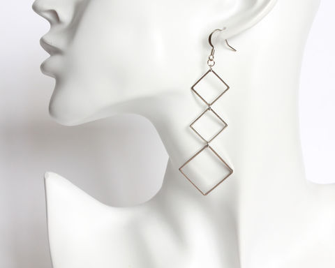 Silver,Rhombus,Dangle,Earrings,silver dangle earrings, silver rhombus earrings, silver square earrings, 3 rhombus earrings, 3 square earrings, rhombus dangle earrings, long silver earrings