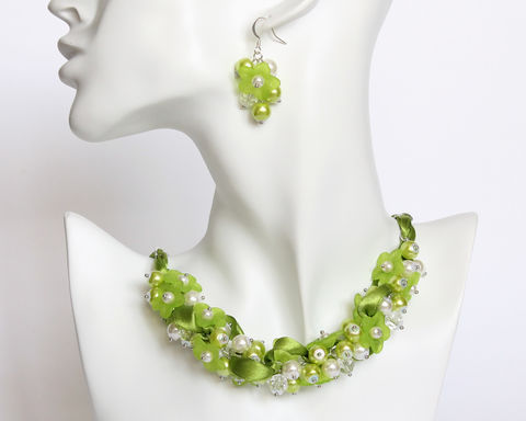 Apple,Green,Flower,Cluster,Necklace,and,Earrings,Set,apple green necklace, green pearl necklace, green cluster necklace, apple green jewelry set, apple green bridesmaid jewelry, green flower necklace