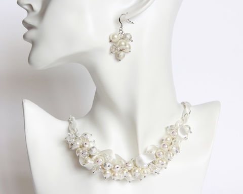 White,Silver,Crystal,Pearl,Cluster,Necklace,and,Earrings,Set,white silver cluster necklace, white pearl cluster necklace, bridal white necklace, bride necklace, white ribbon pearl necklace