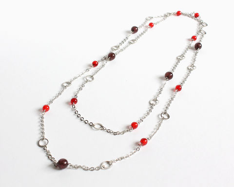 Red,and,brown,small,beads,with,mini,silver,hoops,extra,long,necklace,/,double,very long necklace, extra long necklace, double necklace, 2 way necklace, silver oval hoop necklace, long silver necklace, red brown long necklace, silver circles long necklace