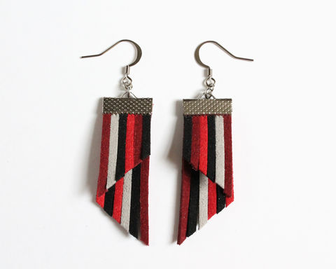 Color,Stripes,Earrings,-,Red,Black,Gray,color stripes earrings, color strips earrings, colorful earrings, leather earrings, color leather earrings, red black gray earrings, red black stripes, red stripes earrings, black red gray stripes