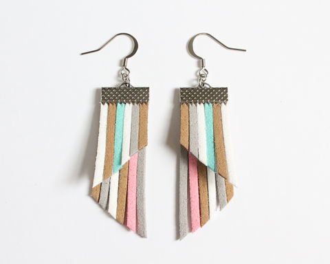 Color,Stripes,Earrings,-,Khahi,White,Gray,Pink,Cyan,color stripes earrings, color strips earrings, colorful earrings, leather earrings, color leather earrings, red black gray earrings, red black stripes, red stripes earrings, black red gray stripes