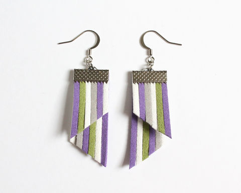 Color,Stripes,Earrings,-,Purple,White,Green,Gray,color stripes earrings, color strips earrings, colorful earrings, leather earrings, color leather earrings, purple white stripes, purple white green earrings, purple white gray stripes, purple stripes earrings