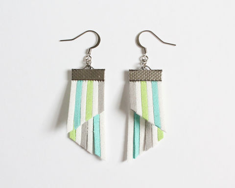 Color,Stripes,Earrings,-,White,Cyan,Lime,Gray,color stripes earrings, color strips earrings, colorful earrings, leather earrings, color leather earrings, white cyan lime stripes earrings, white blue green stripes earrings, pastel stripes earrings