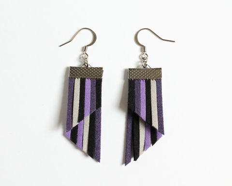 Color,Stripes,Earrings,-,Purple,Black,Gray,color stripes earrings, color strips earrings, colorful earrings, color leather earrings, purple earrings, purple stripes earrings, purple black stripes earrings, purple black gray stripes, violet stripes earrings, violet earrings