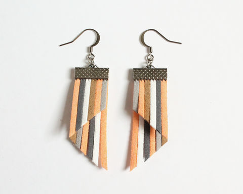Color,Stripes,Earrings,-,Peach,Gray,White,color stripes earrings, color strips earrings, colorful earrings, color leather earrings, orange stripes earring, orange gray white earrings, peach white stripes earrings, peach gray white earrings