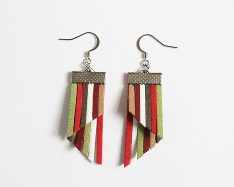 Color,Stripes,Earrings,-,Red,Green,White,color stripes earrings, color strips earrings, colorful earrings, color leather earrings, red stripes earrings, red green stripes earrings, christmas earrings, red green earrings, red white green earrings