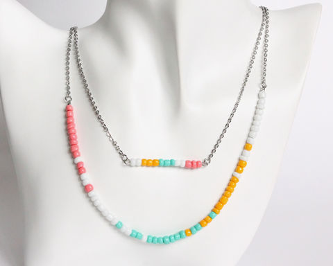 Coral,Turquoise,Amber,White,Double,Layer,Mini,Beads,Stainless,Steel,Necklace,handmade beaded necklace, mini beads necklace, coral turquoise amber white beaded necklace, pastel beaded necklace, pastel color necklace, pastel theme necklace, colorful beads necklace, coral white turquoise necklace, coral white mint necklace