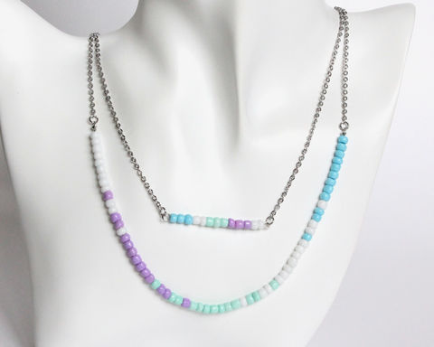 Purple,Mint,Blue,White,Double,Layer,Mini,Beads,Stainless,Steel,Necklace,handmade beaded necklace, mini beads necklace, purple mint blue white beaded necklace, purple white green necklace, pastel color necklace, pastel theme necklace, colorful beads necklace, lavender white blue necklace, lavender mint blue necklace