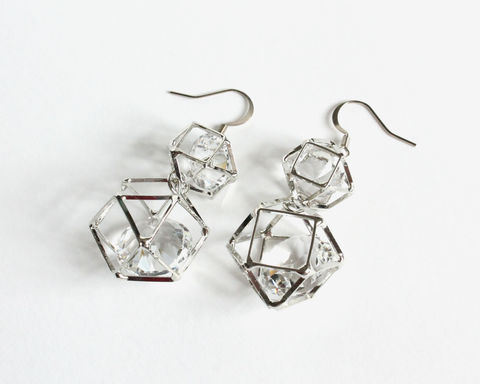 3D,Polygon,Geometric,Earrings,with,Huge,Crystal,Glass,Inside,3d geometic earrings, 3d polygon earrings, polygon geometic earrings, silver geometric earrings, geometric crystal earrings, geometric diamond earrings