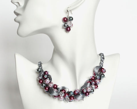 Red-Violet,,Mauve,and,Gray,Cluster,Necklace,Earrings,Set,red-violet gray necklace, red-violet pearl necklace, eggplant beaded necklace, purple gray necklace, red-violet bridesmaid necklace, red-violet gray jewelry set