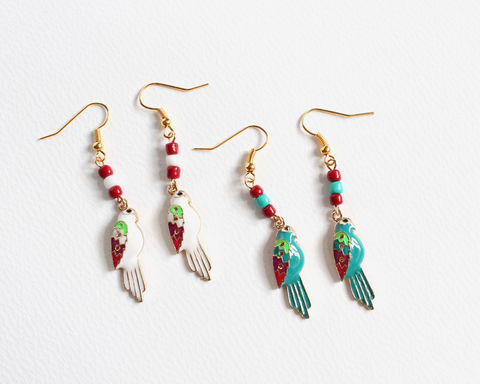 Parrot,Earrings,(Teal,or,White),parrot earrings, teal parrot earrings, white parrot earrings, green parrot earrings, turquoise parrot earrings, teal bird earrings, white bird earrings, green bird earrings, turquoise bird earrings, tropical bird earrings, gold earrings