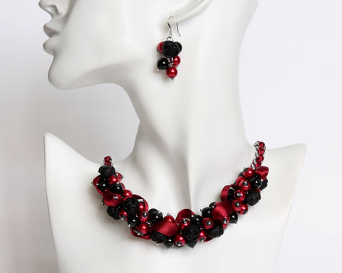 Black,Red,Rose,Cluster,Necklace,and,Earrings,black red cluster necklace, black dark red necklace, black red necklace, dark red pearl necklace, black red pearl necklace, black red jewelry set, dark red necklace earring set, dark red bridesmaid necklace, dark red bridesmaid jewelry set, pearl cluster