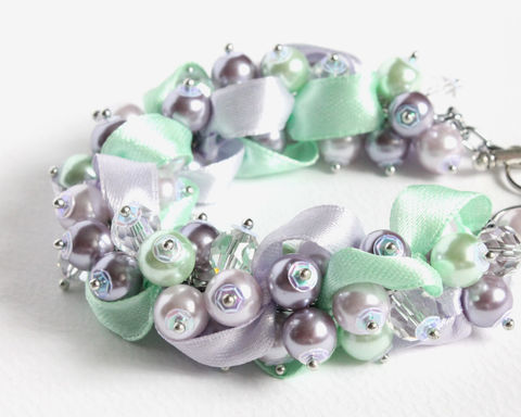 Lavender,Mint,Pearl,Cluster,Bracelet,and,Earrings,Set,lavender mint pearl bracelet earrings set, lavender mint cluster bracelet, purple green bracelet, purple mint bracelet, lavender green bracelet, lavender bridesmaid jewelry, pearl cluster jewelry set