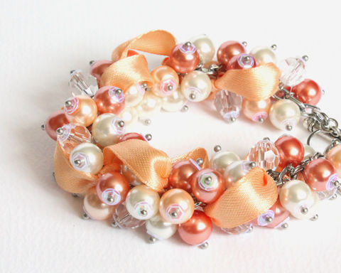 Peach,Coral,White,Bridesmaid,Cluster,Bracelet,and,Earrings,Set,peach coral white cluster bracelet, peach orange coral white jewelry set, peach pearl cluster bracelet, apricot orange white bridesmaid bracelet, peach coral white pearl cluster bracelet, light orange cluster bracelet and earrings set