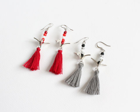 Japanese,Origami,Crane,Earrings,with,Tassels,(2,colors,available),japanese origami crane earrings, origami cranes earrings, japanese cranes earrings, paper bird earrings, red origami cranes earrings, gray origami cranes earrings, red white origami earrings, clip on origami cranes earrings, japanese cranes and tassel ear