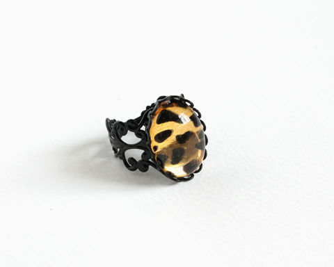 Oval,Leopard,Pattern,Ring,leopard ring, oval leopard pattern ring, black gold leopard ring, leopard cocktail ring, black leopard ring, oval dome leopard ring, leopard jewelry