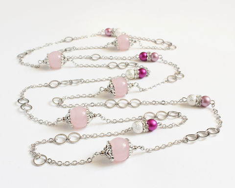 Pink,and,magenta,round,beads,with,mini,silver,hoops,extra,long,necklace,/,double,very long necklace, extra long necklace, double necklace, 2 way necklace, silver oval hoop necklace, long silver necklace, pink long necklace, pink magenta bead long silver necklace