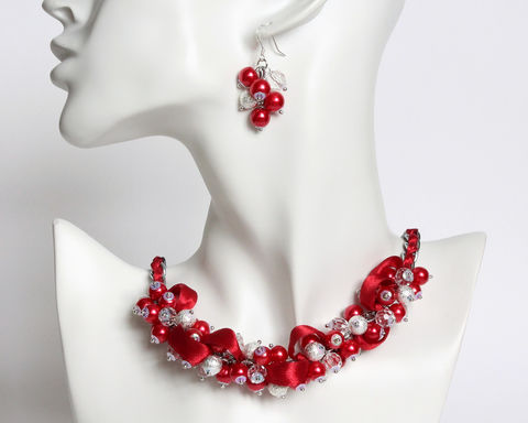 Red,Pearl,Cluster,Necklace,and,Earrings,Set,[Made,to,Order],red pearl cluster necklace, red crystal pearl necklace, bright red necklace, red pearl beads necklace, red silver beaded necklace