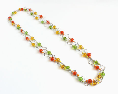 Red,or,green,glass,beads,long,necklace,glass beaded long necklace, red yellow glass bead necklace, green yellow glass bead necklace, silver squares necklace