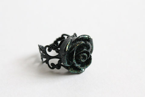 Medium,Glittering,Black,Rose,Ring