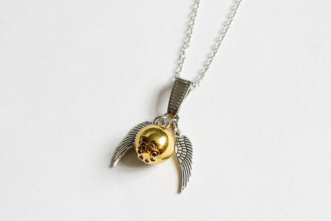 Small,Snitch,Necklace,harry potter necklace, golden snitch necklace, small snitch necklace, silver snitch necklace