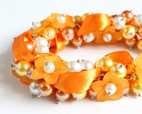 Pumpkin,Orange,Flower,Cluster,Bracelet,and,Earrings,Set,orange cluster bracelet, orange bracelet, orange pearl bracelet, pumpkin orange, amber orange, orange gold, orange bridesmaid, orange wedding, orange jewelry set, orange bracelet earrings, orange bridesmaid jewelry, orange flower bracelet
