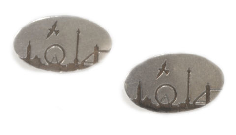 London,Skyline,Stud,Earrings,silver, london, earrings, stud earrings, Houses of Parliament, London Eye, Nelson's Column, Tower Bridge, etched, oxidised, oxidised silver