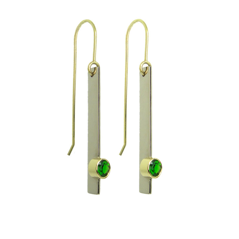 Cartesian Drop Earrings with Imperial Diopside in recycled gold (available Fairtrade gold) - product images  of