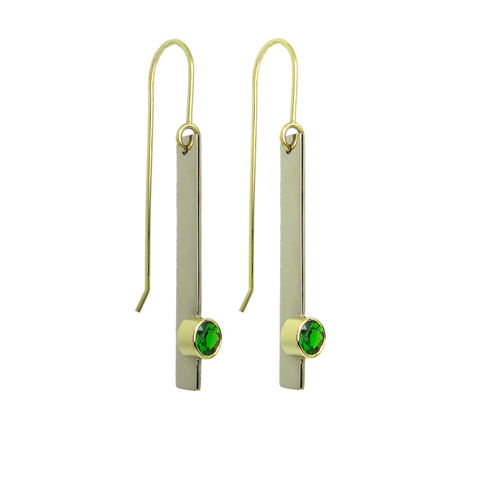 Cartesian,Drop,Earrings,with,Imperial,Diopside,in,recycled,gold,(available,Fairtrade,gold),Recycled gold,  Fairtrade gold, Recycled silver, colored gemstone, green gemstone, Imperial Diopside, long earrings, drop earrings, yellow gold, white gold, Cartesian