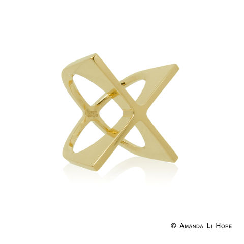 'X',ring,in,18k,gold,-,commission,only,contemporary jewellery, X-ring, bold, statement