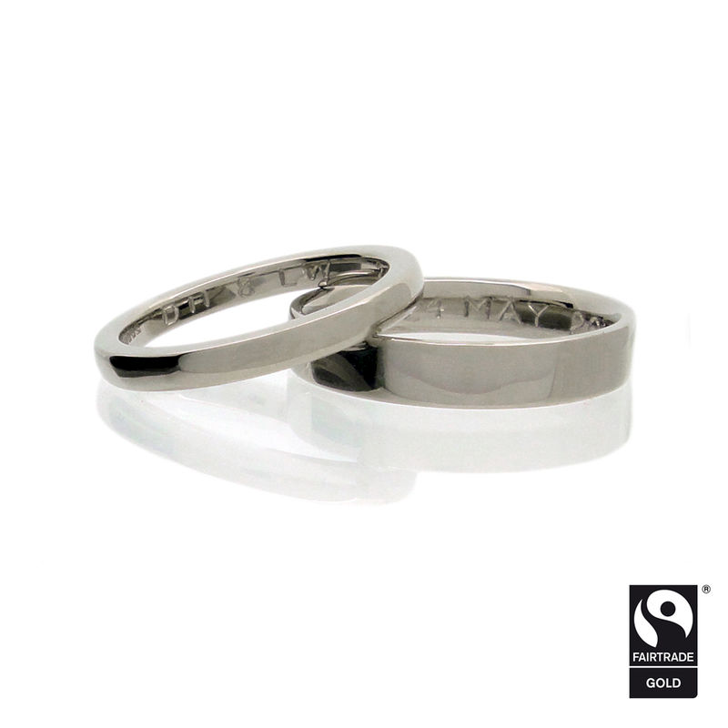 18k white Fairtrade gold wedding bands with hand engraving <br> - commission only - - product images  of