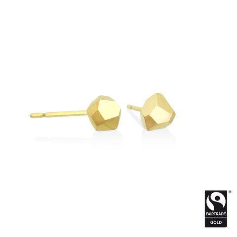 Asteroid,earrings,-,18k,yellow,Fairtrade,gold,Fairtrade gold, asteroid, earrings, faceted, jewellery, yellow gold, ethical, jewelry