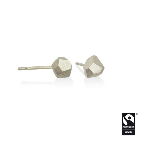 Asteroid,earrings,-,18k,white,Fairtrade,gold,Fairtrade gold, asteroid, earrings, faceted, jewellery, white gold, ethical, jewelry